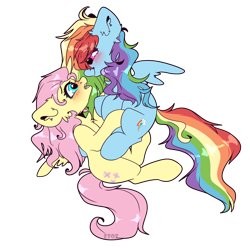 Size: 2000x2000 | Tagged: safe, artist:etoz, fluttershy, rainbow dash, pegasus, pony, blushing, cute, female, flutterdash, lesbian, mare, open mouth, shipping, simple background, smiling, transparent background, wings, wip