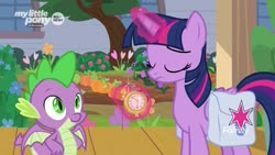Size: 1920x1080 | Tagged: safe, screencap, spike, twilight sparkle, alicorn, dragon, pony, the point of no return, spoiler:s09e05, magic, pocket watch, saddle bag, twilight sparkle (alicorn), winged spike