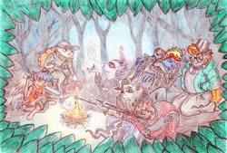 Size: 3452x2331 | Tagged: safe, artist:grimmyweirdy, oc, oc:crystal clarity, oc:goldenbloom, oc:prince illusion, oc:prism bolt, oc:starburst, oc:surprise, anthro, draconequus, dracony, hybrid, angus delaney, anthro oc, baseball bat, beatrice santello, boombox, cigarette, crossover, fire, food, germ, gregg lee, interspecies offspring, mae borowski, marshmallow, next generation, night in the woods, offspring, parent:applejack, parent:cheese sandwich, parent:discord, parent:flash sentry, parent:pinkie pie, parent:princess celestia, parent:rainbow dash, parent:rarity, parent:soarin', parent:spike, parent:twilight sparkle, parents:cheesepie, parents:dislestia, parents:flashlight, parents:soarindash, parents:sparity, video game crossover
