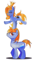 Size: 1167x1920   Tagged: safe, artist:ruhisu, oc, oc only, oc:prince baltic, oc:princess pomerania, earth pony, pony, 2020 community collab, derpibooru community collaboration, brother and sister, crown, eyes closed, female, jewelry, male, regalia, siblings, simple background, standing on head, transparent background, tribrony, twins