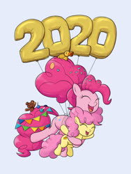 Size: 1200x1600 | Tagged: safe, artist:mew-me, li'l cheese, pinkie pie, earth pony, the last problem, spoiler:s09e26, 2020, balloon, blue background, candy, colt, eyes closed, female, floating, flying, food, happy, happy new year, happy new year 2020, holiday, lollipop, male, mare, mother and son, new years eve, older, older pinkie pie, rubber duck, simple background, smiling, teddy bear, then watch her balloons lift her up to the sky