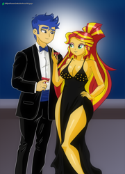 Size: 1080x1500 | Tagged: safe, artist:chuyryu, flash sentry, sunset shimmer, equestria girls, alcohol, alternate hairstyle, black dress, breasts, busty sunset shimmer, cleavage, clothes, dress, elegant, female, flashimmer, gala dress, glass, happy new year, holiday, legs, makeup, male, moon, night, shipping, side slit, straight, tuxedo, wine, wine glass