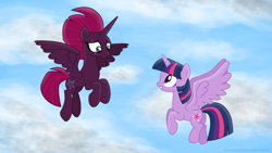 Size: 3840x2160 | Tagged: safe, alternate version, artist:ejlightning007arts, tempest shadow, twilight sparkle, alicorn, alicornified, alternate timeline, cloud, cute, eye scar, female, flying, flying lesson, lesbian, princess tempest shadow, race swap, scar, shipping, tempest gets her horn back, tempest now has a true horn, tempesticorn, tempestlight, textless, twilight sparkle (alicorn)