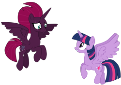 Size: 11470x8091 | Tagged: safe, artist:ejlightning007arts, tempest shadow, twilight sparkle, alicorn, alicornified, alternate timeline, cute, eye scar, female, flying, lesbian, princess tempest shadow, race swap, scar, shipping, simple background, tempest gets her horn back, tempest now has a true horn, tempesticorn, tempestlight, transparent background, twilight sparkle (alicorn), vector