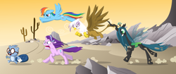 Size: 2480x1042 | Tagged: safe, artist:culu-bluebeaver, gilda, queen chrysalis, rainbow dash, starlight glimmer, oc, oc:culu, beaver, changeling, changeling queen, griffon, pegasus, pony, unicorn, angry, desert, female, flying, glasses, happy tree friends, non mlp-oc, paper, pencil, running, skull, this will end in death, this will end in tears, this will end in tears and/or death