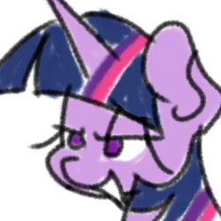 Size: 250x250 | Tagged: safe, artist:treble clefé, twilight sparkle, alicorn, pony, bust, smuglight sparkle, solo