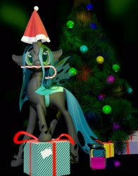 Size: 1600x2043 | Tagged: safe, artist:fluffyrescent, queen chrysalis, changeling, 2020, beverage, candy, candy cane, christmas, christmas changeling, christmas tree, cute, cutealis, food, happy new year, hat, holiday, love, new year tree, new years eve, present, santa hat, solo, tree