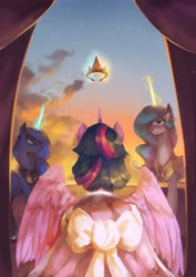 Size: 2896x4096 | Tagged: safe, artist:anticular, princess celestia, princess luna, twilight sparkle, alicorn, pony, the last problem, spoiler:s09e26, bow, clothes, cloud, coronation dress, crown, dress, end of ponies, facing away, female, high res, jewelry, magic, mare, rear view, regalia, royal sisters, scene interpretation, second coronation dress, sky, spread wings, telekinesis, twilight sparkle (alicorn), wings