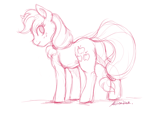 Size: 2400x1800 | Tagged: safe, artist:buttersprinkle, applejack, earth pony, pony, butt, female, mare, plot, simple background, sketch, solo, white background