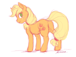 Size: 2400x1800 | Tagged: safe, artist:buttersprinkle, applejack, earth pony, pony, butt, female, looking back, mare, plot, simple background, sketch, solo, white background