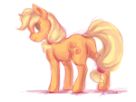 Size: 2400x1800 | Tagged: safe, artist:buttersprinkle, applejack, earth pony, pony, butt, colored sketch, female, looking at you, looking back, looking back at you, mare, no pupils, plot, simple background, sketch, solo, white background