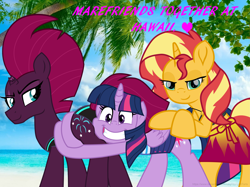 Size: 6339x4748 | Tagged: safe, artist:ejlightning007arts, sunset shimmer, tempest shadow, twilight sparkle, alicorn, unicorn, bikini, broken horn, butt, butt touch, butthug, clothes, equestria girls outfit, eye scar, female, hawaii, horn, hug, irl, lesbian, photo, scar, shipping, sunsetsparkle, swimsuit, tempass, tempestlight, tempestlightshimmer, tempestshimmer, threesome, twilight sparkle (alicorn)