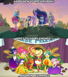 Size: 1920x2160 | Tagged: safe, edit, edited screencap, screencap, applejack, fluttershy, pinkie pie, rainbow dash, rarity, sci-twi, spike, sunset shimmer, twilight sparkle, alicorn, dragon, equestria girls, equestria girls series, holidays unwrapped, the last problem, spoiler:eqg series (season 2), spoiler:s09e26, caption, group photo, group shot, happy ending, happy new year, happy new year 2020, holiday, hope, humane five, humane seven, humane six, mane seven, mane six, new beginnings, o come all ye squashful, older, older applejack, older fluttershy, older mane 6, older mane 7, older pinkie pie, older rainbow dash, older rarity, older spike, older twilight, the end, twilight sparkle (alicorn), winged spike
