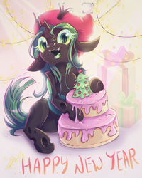 Size: 1200x1500 | Tagged: safe, artist:alexbluebird, queen chrysalis, changeling, changeling queen, cake, christmas, christmas changeling, christmas tree, cute, cutealis, female, food, frosting, gift wrapped, happy new year, holiday, looking at you, open mouth, solo, tree