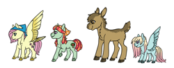 Size: 1166x459 | Tagged: safe, artist:phobicalbino, fluttershy, tree hugger, oc, oc:hazelnut, oc:peaceful sunrise, earth pony, moose, pegasus, pony, adopted offspring, bandana, calf, cloven hooves, dewclaw, family, female, flutterhugger, lesbian, magical lesbian spawn, mare, next generation, offspring, parent:fluttershy, parent:tree hugger, parents:flutterhugger, quartet, shipping, spread wings, wings