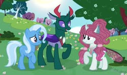 Size: 1280x751 | Tagged: safe, artist:universestarlight, pharynx, trixie, changedling, changeling, changepony, hybrid, family, interspecies offspring, offspring, parent:pharynx, parent:trixie, parents:phartrix, phartrix, prince pharynx
