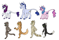 Size: 1157x786 | Tagged: safe, artist:phobicalbino, fancypants, rarity, oc, oc:onyx alabaster, oc:polished pyrite, oc:recherché, oc:smoky quartz, abyssinian, pony, unicorn, abyssinian oc, adopted offspring, cloven hooves, dewclaw, facial hair, family, female, goatee, headscarf, leonine tail, male, mare, moustache, next generation, offspring, parent:fancypants, parent:rarity, parents:raripants, raised hoof, raripants, scarf, shipping, simple background, stallion, straight, white background