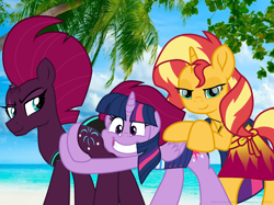 Size: 6340x4753 | Tagged: safe, alternate version, artist:ejlightning007arts, sunset shimmer, tempest shadow, twilight sparkle, alicorn, unicorn, bikini, broken horn, butt, butt touch, butthug, clothes, equestria girls outfit, eye scar, female, hawaii, horn, hug, irl, lesbian, photo, scar, shipping, sunsetsparkle, swimsuit, tempass, tempestlight, tempestlightshimmer, tempestshimmer, textless, threesome, twilight sparkle (alicorn)