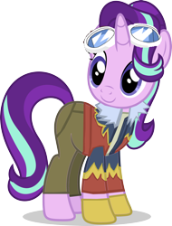Size: 7000x9191 | Tagged: safe, artist:luckreza8, edit, editor:crisx284, starlight glimmer, pony, unicorn, clothes, crossover, daisuke motomiya, davis motomiya, digimon, digimon adventure 02, female, goggles, mare, simple background, solo, transparent background