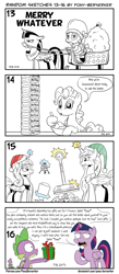 Size: 1320x3035 | Tagged: safe, artist:pony-berserker, pinkie pie, princess celestia, princess luna, spike, twilight sparkle, alicorn, dragon, earth pony, pony, angry, black and white, bowl, bridle, butter, celestia is not amused, christmas, clothes, costume, elf hat, female, food, grayscale, hat, holiday, i can't believe it's not idw, luna is not amused, lunar lander, magic, male, mane, mare, monochrome, not amused face, pony-berserker's twitter sketches, present, reins, rick and morty, rick sanchez, santa costume, santa hat, santa sack, scale, sibling rivalry, simple background, sketch, sleigh, smug, solo, speech bubble, style emulation, tack, telekinesis, this will end in tears and/or a journey to the moon, twilight sparkle (alicorn), twirick, unamused, white background, winged spike, yoke