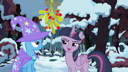 Size: 1280x720 | Tagged: safe, artist:quasdar, mean twilight sparkle, trixie, the mean 6, christmas, female, holiday, lesbian, mean twixie, mistleholly, shipping, snow, twixie