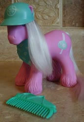 Size: 704x1023 | Tagged: safe, photographer:elisha, slugger, baseball cap, cap, comb, g1, hat, official, toy