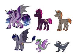 Size: 1099x784 | Tagged: safe, artist:phobicalbino, spike, tempest shadow, twilight sparkle, oc, oc:night glimmer, oc:sunbright, alicorn, bat pony, bat pony alicorn, dragon, pony, unicorn, adopted offspring, cloven hooves, colored fetlocks, colored hooves, colored horn, curved horn, dawn pony, dewclaw, female, gradient mane, horn, hybrid wings, leonine tail, lesbian, male, mare, shipping, simple background, stallion, tempestlight, twilight sparkle (alicorn), unshorn fetlocks, white background, wing claws, winged spike, wings