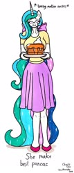 Size: 1057x2480 | Tagged: safe, artist:killerteddybear94, derpibooru exclusive, princess celestia, anthro, clothes, cropped, cute, cutelestia, daaaaaaaaaaaw, descriptive noise, eyes closed, food, housewife, momlestia, pancakes, ponytail, shirt, shoes, skirt, smiling, t-shirt, traditional art