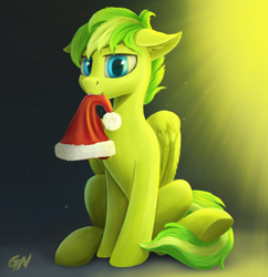 Size: 1000x1035 | Tagged: safe, artist:gouransion, oc, oc only, oc:lime zest, pegasus, pony, christmas, hat, holiday, looking at you, male, mouth hold, santa hat, sitting, solo