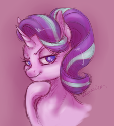 Size: 1320x1460   Tagged: safe, artist:buttersprinkle, starlight glimmer, pony, unicorn, bust, female, looking at you, mare, no pupils, portrait, raised eyebrow, raised hoof, smug, smuglight glimmer, solo