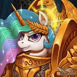 Size: 900x900 | Tagged: safe, artist:eztp, princess celestia, alicorn, pony, armor, bust, crossover, female, god empress of ponykind, grin, halo, laurel wreath, looking at you, mare, portrait, smiling, solo, warhammer (game), warhammer 40k