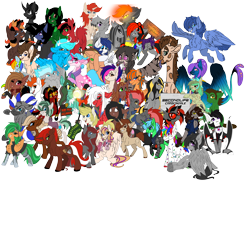 Size: 6000x5501 | Tagged: safe, artist:brainiac, derpibooru exclusive, applejack, rainbow dash, oc, oc only, oc:atom smasher, oc:axel, oc:blue light, oc:brush stroke, oc:cerise, oc:cinder blaze, oc:clever porcupine, oc:cold front, oc:constance everheart, oc:cradle, oc:dusk flare, oc:ebony inks, oc:film reel, oc:film strip, oc:flash toy, oc:fluoride sting, oc:gear box, oc:haymaker, oc:inner sight, oc:ivy, oc:knick knack, oc:kokuma, oc:lamp, oc:lily hop, oc:mecha-den, oc:molasses candy, oc:nighteyes, oc:piper, oc:risky, oc:rocco, oc:rocky twist, oc:saltine crackers, oc:savi, oc:serendypity, oc:servus liber, oc:skittle, oc:skye, oc:somber, oc:taco fries, oc:uncharted pages, oc:valiant effort, oc:willow, oc:word smith, derpibooru community collaboration, fallout equestria, absurd resolution, chest fluff, group photo, plushie, serper, simple background, transparent background