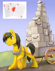 Size: 2550x3300 | Tagged: safe, artist:silfoe, oc, oc only, oc:trail cutter, clydesdale, unicorn, amazon.com, box, cart, commission, harness, male, solo, stallion, tack, unshorn fetlocks