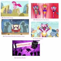 Size: 2832x2824 | Tagged: safe, edit, edited screencap, screencap, adagio dazzle, aria blaze, cheerilee, flam, flim, peach fuzz, perky prep, pinkie pie, sonata dusk, spike, twilight sparkle, dog, a friend in deed, equestria girls, leap of faith, rainbow rocks, the cart before the ponies, abstract background, cheerileeder, cheerleader, collage, derby racers, disguise, disguised siren, gem, list, pronking, rainbow rocks song, rooftop, silhouette, siren gem, smile song, spike the dog, the dazzlings, title sequence, top 20 g4 songs, transformed, welcome to the show