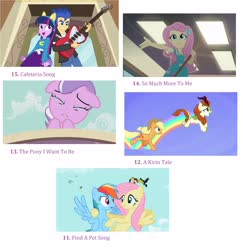Size: 2752x2832 | Tagged: safe, edit, edited screencap, screencap, applejack, autumn blaze, diamond tiara, flash sentry, fluttershy, rainbow dash, twilight sparkle, crusaders of the lost mark, equestria girls, equestria girls (movie), may the best pet win, so much more to me, sounds of silence, spoiler:eqg series, a kirin tale, collage, crying, find a pet, geode of fauna, guitar, helping twilight win the crown, list, magical geodes, musical instrument, the pony i want to be, top 20 g4 songs