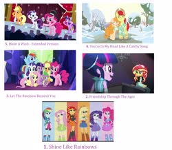 Size: 3072x2684 | Tagged: safe, edit, edited screencap, screencap, applejack, bright mac, fluttershy, pear butter, pinkie pie, rainbow dash, rarity, sunset shimmer, twilight sparkle, alicorn, equestria girls, friendship through the ages, pinkie pride, rainbow rocks, the perfect pear, twilight's kingdom, clothes, collage, group shot, let the rainbow remind you, list, microphone, musical instrument, piano, scarf, shared clothing, shared scarf, shine like rainbows, snow, the rainbooms, top 20 g4 songs, tree, twilight sparkle (alicorn), twilight's castle, you're in my head like a catchy song