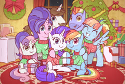 Size: 1317x879 | Tagged: safe, artist:raridashdoodles, bow hothoof, cookie crumbles, hondo flanks, rainbow dash, rarity, sweetie belle, windy whistles, pegasus, pony, unicorn, blushing, bow, christmas, christmas sweater, christmas tree, clothes, drink, family, family photo, female, food, hearth's warming eve, holiday, lesbian, male, pie, present, raridash, shipping, sweater, tree