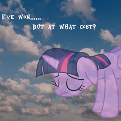 Size: 1440x1440 | Tagged: safe, artist:luckreza8, twilight sparkle, alicorn, cloud, floppy ears, meme, ponified meme, sad, sky, solo, text, twilight sparkle (alicorn)