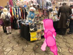 Size: 4032x3024 | Tagged: safe, photographer:undeadponysoldier, pinkie pie, earth pony, human, pony, clothes, convention, cosplay, costume, fairy tail, female, happy (fairy tail), ichibancon, irl, irl human, mare, photo, plushie, ponies in real life, spongebob squarepants