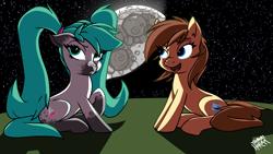 Size: 3840x2160 | Tagged: safe, artist:the-barinade, oc, oc only, oc:bapjangles, oc:kadae, earth pony, pony, cutie mark, moon, space, stars