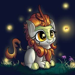 Size: 1280x1280 | Tagged: safe, artist:rocket-lawnchair, autumn blaze, firefly (insect), insect, kirin, awwtumn blaze, cheek fluff, cute, female, filly, night, ponyloaf, prone, solo, weapons-grade cute