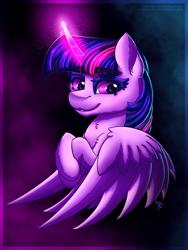 Size: 1725x2300 | Tagged: safe, artist:midnightsix3, twilight sparkle, alicorn, pony, creepy, magic, solo, twilight sparkle (alicorn), wings