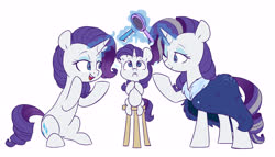 Size: 5793x3304 | Tagged: safe, artist:chub-wub, rarity, pony, unicorn, the last problem, spoiler:s09e26, age progression, brush, commonity, cute, female, filly, filly rarity, high res, magic, mare, multeity, older, older rarity, one eye closed, open mouth, part of a set, raribetes, self ponidox, simple background, sitting, solo, stool, telekinesis, time paradox, triality, white background, younger