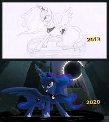 Size: 1920x2166 | Tagged: safe, artist:hydrusbeta, princess luna, alicorn, angry, comparison, eclipse, magic, solo