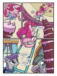 Size: 768x1024 | Tagged: safe, artist:kate sherron, idw, marble pie, maud pie, pinkie pie, earth pony, pony, spoiler:comic, spoiler:comic86, butt, cake, comic, female, food, ladder, mare, official comic, plot, preview, siblings, sisters, speech bubble, when she speaks