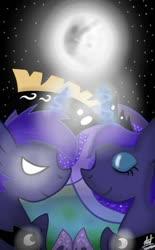 Size: 720x1160 | Tagged: safe, artist:lunatia_elsa, princess luna, alicorn, dark, digital art, love, lunartemis, moon, prince artemis, rule 63, self ponidox, shipping
