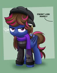 Size: 800x1016 | Tagged: safe, artist:jhayarr23, oc, oc only, pegasus, pony, clothes, female, grumpy, hat, mare, multicolored hair, scarf, solo, squint, sweater, unamused