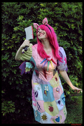 Size: 3456x5184 | Tagged: safe, artist:krazykari, pinkie pie, human, fanfic:cupcakes, absurd file size, clothes, cosplay, costume, cutie mark dress, irl, irl human, meat cleaver, photo, pinkamena diane pie, solo