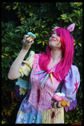 Size: 3456x5184 | Tagged: safe, artist:krazykari, pinkie pie, human, fanfic:cupcakes, clothes, cosplay, costume, cupcake, food, irl, irl human, photo, solo