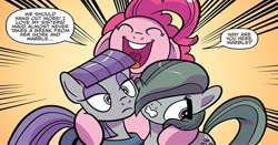 Size: 614x322 | Tagged: safe, artist:kate sherron, idw, marble pie, maud pie, pinkie pie, earth pony, pony, spoiler:comic, spoiler:comic86, cropped, dialogue, exclamation point, female, floppy ears, gritted teeth, happy, mare, open mouth, pie sisters, question mark, siblings, sisters, speech bubble, teeth, trio